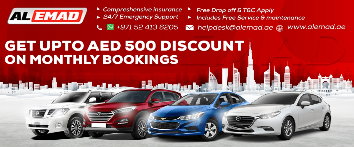 AED 500 Discount | 100% Sanitised Cars For Rent Dubai | Al-Emad